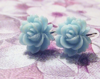 Pale Blue Vintage Style Rose Clip On Earrings