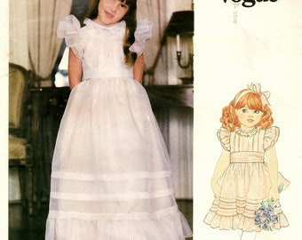 "A Ruffled Long or Below Knee Length, Ruffled, Back Buttoned, Waistline Sash Dress Pattern: Childrens Size 4, Breast 23"" • Little Vogue 2898"