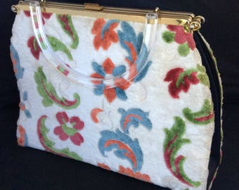 1960s 3-in-1 handbag with carpet cover and lucite handle