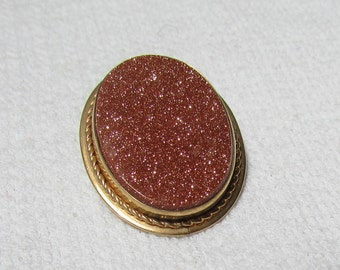 Vintage Van Dell gold filled goldstone brooch pin pendant