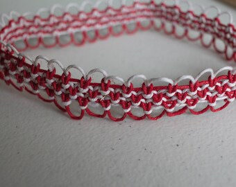 16 inch red and white hemp necklace