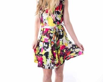 Summer Silk Dress- small -sleeveless- floral print- belted waist hand made