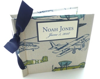 Personalized Album / Baby boy album / Airplane album / Scrap book album / Shower gift - 8x8 size choose your own ribbon color