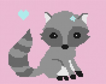 Baby Raccoon Love Baby Blanket Afghan Crochet Pattern (Girl)