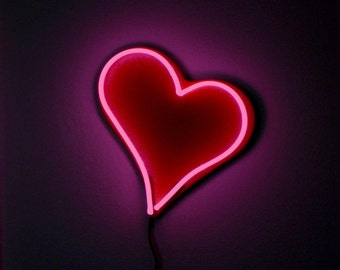Hot Hot Pink Neon Valentine Heart for the Wall