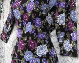 Mélange de Roses coton XS violet robe fleurie, décontracté à la robe de soirée Cocktail, robe de roses vintage des années 80 des années 1980 80 s impression Rose robe