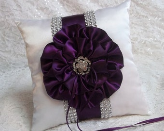 White Ring Bearer Pillow embellished with an Plum Purple and Rhinestone Mesh Trim, Wedding Pillows