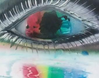 Abstract Rainbow Eye Inspirational Spray Paint Art