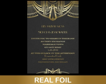 Art Deco Black Wedding Invitations, Featuring Gold Metallic Foil On Black Smooth 80 lb Paper, Envelopes Included