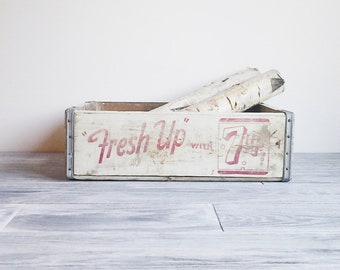 RESERVED for Joy: Vintage Rustic 7up Soda White Wood Crate