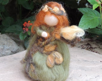 Wool Doll - Woodly Maiden with her friend Yellow Bird-  Waldorf inspired needle felted autumn by Rebecca Varon