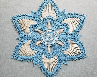 Valerie doily in blue and beige, crochet doily