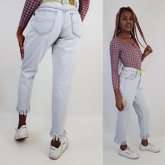 Vintage Remade Upcycled High Waisted Jeans - 90's Light Wash HighWaist Denim -  Blue Distressed Cut Leg Mom Jeans Light Blue Women's Pants