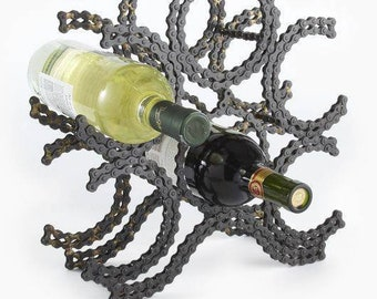 Custom made to order motorcycle chain wine rack