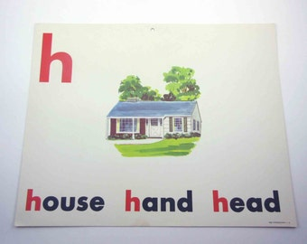 Vintage 1960s Childrens Giant Sized School Flash Card with Picture and Word for House