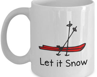 Ski Lovers Mug | Let it Snow (Red skis) | Ceramic Coffee Mug