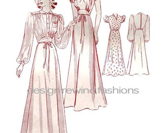 1940s Womens Floor Length Nightgown Lingerie Negligee Pajamas Long Short Sleeves Size 16 Bust 34 UNCUT Butterick 8734 Vintage Sewing Pattern