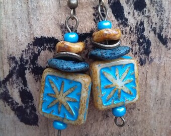 Earrings turquoise, yellow and Sun
