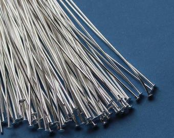 100 4 inch Head pins Silver Plated 21 gauge Headpins