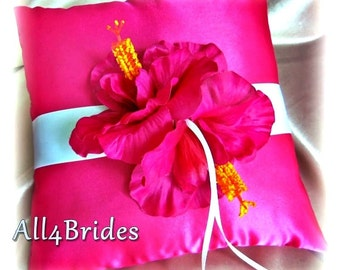 Hot pink hibiscus wedding flower ring bearer pillow. wedding ring cushion.