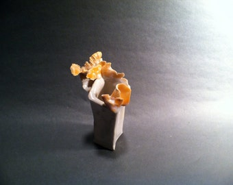 FRAGILE FANTASY Creation in Pure White & Orange Miniature Rarity in Exquisite Porcelain Clay  - Susan Ellebruch - Artist, Whirlwind Pottery