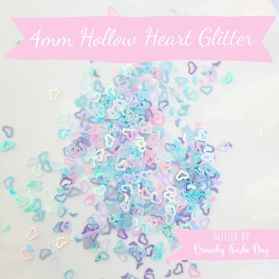 5 grams - 4mm Hollow Heart Glitter, Pastel Heart Glitter, Glitter, Pink, Purple, Blue, Glitter Confetti, Confetti, Kawaii, Resin Glitter