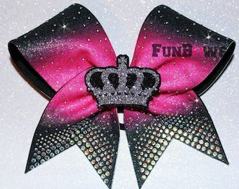 Beautiful ! 3-D Crown Glitter AB  Rhinestone Ombre Allstar Cheer Bow by FunBows !