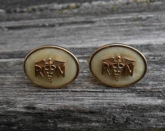 Vintage RN Caduceus Cufflinks. Gift For Groomsmen, Groom, Dad, Wedding, Anniversary, Christmas, Birthday, Father's Day.