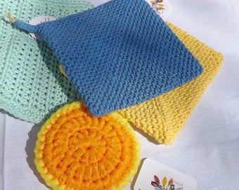 Spring Kitchen Gift Set, Yellow Blue Tangerine and Aqua, Handmade Practical Gift, 2 Potholders, 1 Cotton Dishcloth, 1 Nylon Scrubby