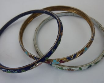 """Enamel Bangles Collection of 3 Boho Enamelware Stacking Bracelets Asian Style Floral Design White Red and Blue 2 3/4"""" Diameter 80's"""