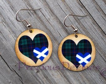 Clan Leslie Tartan Heart with Scottish flag heart earrings. High quality image printed on metal earrings. Scottish Flag. Leslie Tartan