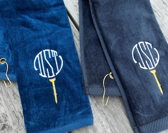 Monogrammed Golf Towel Personalized Golf Towel Groomsmen Gift Wedding Gift Cotton Anniversary Gift, 2nd Anniversary, Golf Decor