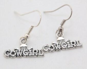 Cowgirl Hat Silver Dangle Earrings