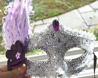 Purple and Silver Masquerade Bridal Mask, Mascarade mask, Pink mask, lace mask, mardi gras, costume, sweet 16, homecoming, halloween mask,