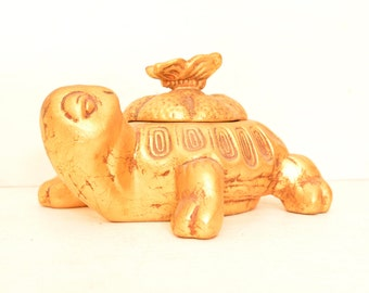 Vintage Gold Turtle Covered Dish; Butterfly Zen Meditation Jewelry Container USA 336; Free Shipping U.S.A.