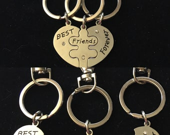 Best friends forever 3 piece keychains/clip on