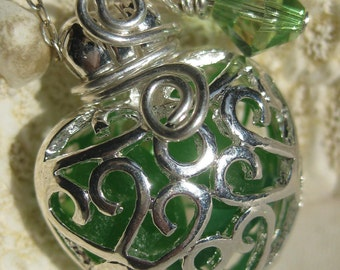 Sea Glass Necklace-Kelly Green Mermaids Tears Heart Locket-Plus Coupon
