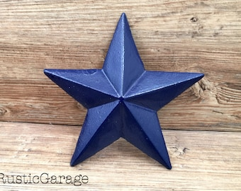 """NAVY - Handpainted Distressed Cast Iron Texas Star Wall Hanging - 7.5"""" Metal Star Wall Decor - Patriotic Nautical Rustic Country Home Decor"""
