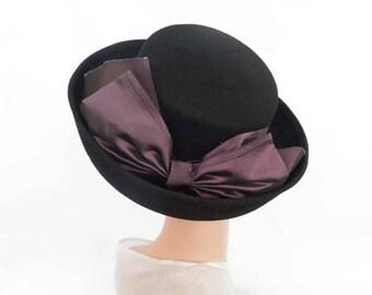 Black vintage hat, 1970s tilt, Breton wide back bow, Importina