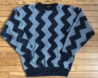 Vintage Zig Zag Black and Gray Santana Sweater