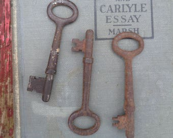 Vintage Antique Skeleton key -set three skeleton keys - vintage hollow barrel key skeleton key