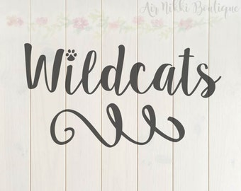Wildcats, paw print, SVG, PNG, DXF files, instant download