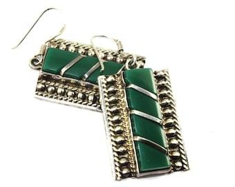 Silver Earrings Green Jade Earrings Tribal earrings, Boho Earrings, Ethnic earrings, Bohemian earrings Gypsy earrings Silver dangle earrings