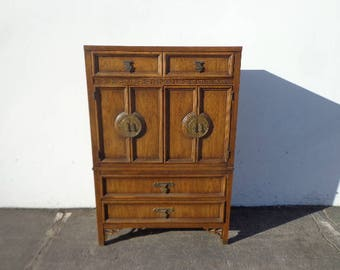 Dresser Dixie Shangri La Chest of Drawers Armoire Bamboo Tallboy Bohemian Boho Chic Chinoiserie Campaign Hollywood Regency CUSTOM PAINT AVAI