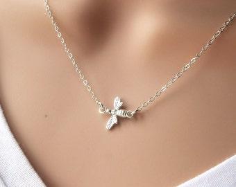 Silver Bee Necklace - layering honeybee necklace - minimalist - simple - queen bee