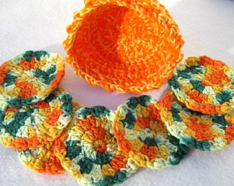 Cotton Facial Cloths Exfoliating Cloths Make Up Removers Facial Scrubbie with Basket Green, Yellow and Orange Crochet 100 Percent Cotton