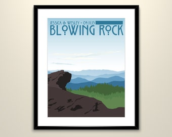 Blue Ridge Mountain Blowing Rock 11x14 Poster // Wedding Landscape Vintage Poster // Personalize with Names and date (frame not included)