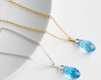 Aquamarine Necklace  - Swarovski Aquamarine Pendant - March Birthstone Necklace  - Aquamarine Pendant - Aquamarine Jewelry Jewelry  -  A11