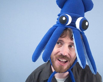 The Guild Squidhat - Small Fleece Squid Hat - Blue with Bulgy Eyes
