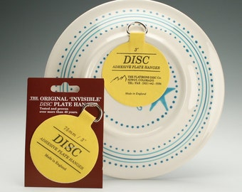 "Set of Two (2) 3"" Medium Plate Hangers Invisible Disc Plate Walls Hanger - 3"" For Plates Up To 8"", Plate Wall Hanger"